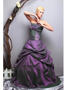 Grape Strapless Long Taffeta Cute Quince Dress SOV113014