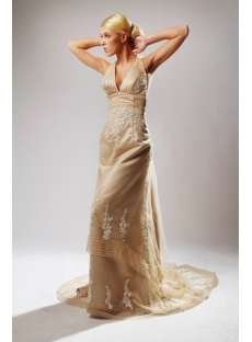 Halter Champagne Backless Elegant Bridal Gowns SOV110039
