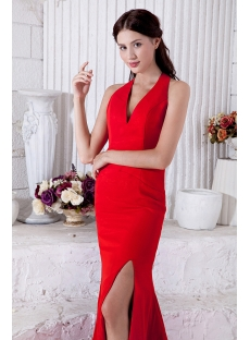 Halter V-Neckline Formal Red Evening Dresses IMG_6904