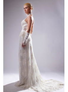 High Collar Halter Champagne Lace Column Bridal Gown with Train SOV110009