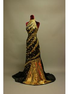 High Neckline Gold and Black Luxurious 2013 Evening Dress IMG_6867
