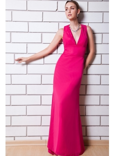 Hot Pink Deep V Column Bridesmaid Dress with Keyhole IMG_0821