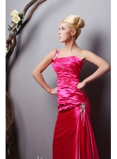 Hot Pink Plus Size Evening Dress with One Shoulder SOV111019
