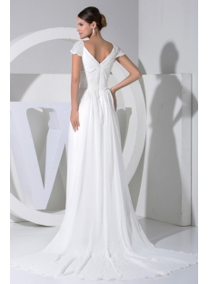 Ivory Casual Informal Wedding Dress with Cap Sleeves WD1-026