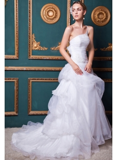 Ivory Organza Junoesque Wedding Dresses with One Shoulder IMG_1394