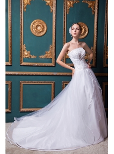 Ivory Organza Strapless A-line Princess Bridal Gown with Corset Back IMG_1486