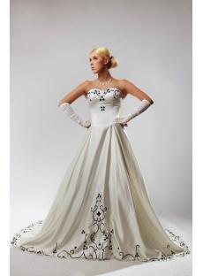Ivory Plus Size Wedding Dresses with Color Black SOV110027