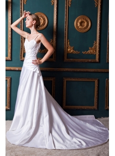 Ivory Satin Spaghetti Straps Outdoor Wedding Dresses IMG_1411