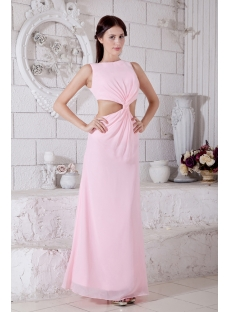 Jeweled Neckline Pearl Pink Long Sexy Evening Dress with V-Neckline and Keyhole IMG_7710