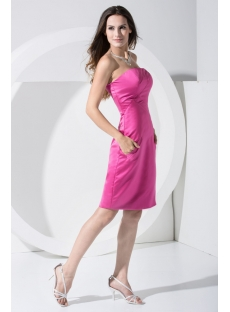 Knee Length Strapless Fuchsia Homecoming Dress WD1-007