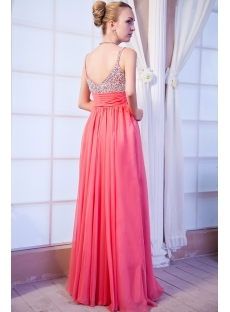 Low Back Plus Size Coral Formal Evening Dress IMG_9951