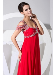 Luxury Long Red Off Shoulder Plus Size Prom Dress WD1-031