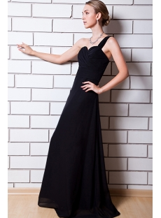 Modest Black One Shoulder Long Bridesmaid Dress IMG_0701