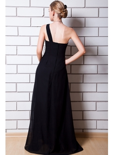 Modest Black One Shoulder Long Bridesmaid Dress IMG_0701
