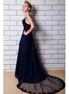Navy Mature Wedding Party Dresses with Train IMG_0810