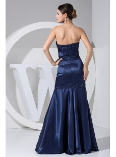 Navy Strapless Floor Length Mermaid Graduation Dress WD1-047