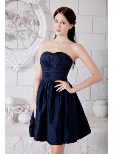Navy Sweetheart Taffeta Homecoming Dress Short Cheap IMG_7269