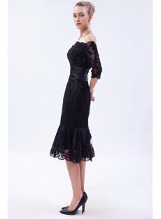 Off Shoulder Black Tea Length Lace Wedding Dress With