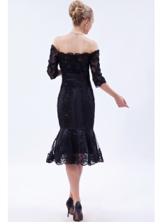 Off Shoulder Black Tea Length Lace Wedding Dress with Sleeves IMG_9767