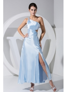 One Shoulder Ankle Length Sky Blue Sexy Evening Dress with Keyhole WD1-038