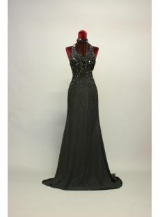 Open Back Beaded Black Evening Dresses Long IMG_7117