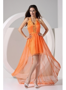 Orange Halter Sweet High Low Prom Dresses under 200 Dollars WD1-054