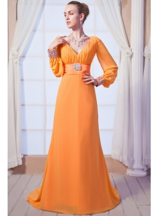 Orange V-neckline Decent Formal Evening Dress with Long Sleeves img_0150