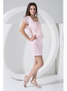 Pearl Pink Cute One Shoulder Mini Cocktail Dress WD1-005