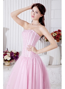 Pink Drop Waist Pretty Masquerade Ball Gowns with Corset IMG_6996