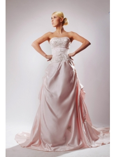 Pink Luxurious Satin Bridal Gown with Embroidery SOV110037