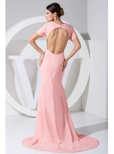 Pink Open Back Beach 2013 Evening Dress with Short Sleeves WD1-032