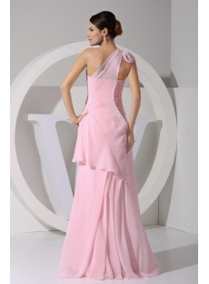Pink Romantic 2013 Prom Dress One Shoulder Chiffon Floor Length WD1-059