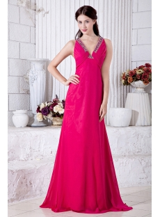 Plunge V Fuchsia Evening Dresses Cheap with Open Back IMG_6918