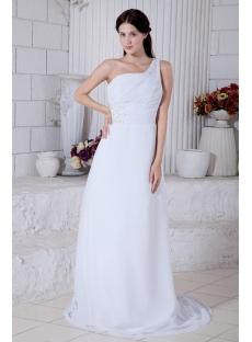 Popular Chiffon One Shoulder Wedding Dresses with Train IMG_7669