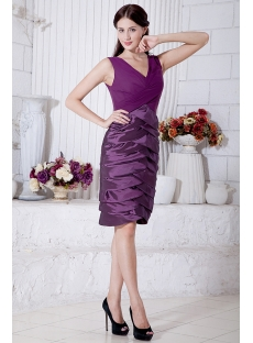 Purple Mother of Bride Dress Knee Length with V-Neckline IMG_7169