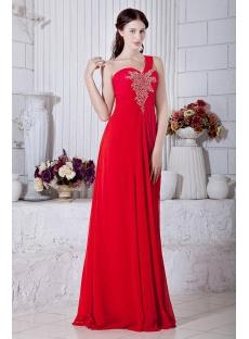 Red Chiffon Plus Size Club Dresses One Shoulder IMG_6857