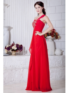 Red Chiffon Plus Size Club Dresses One Shoulder IMG_6857