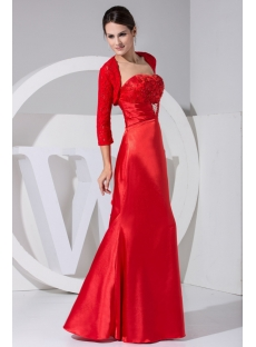 Red Long Mother of Bride Dresses with Lace Jacket WD1-045