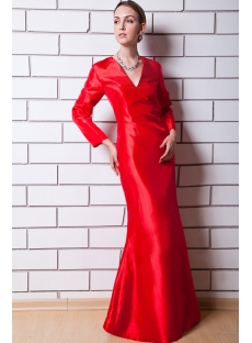 Red Long Sleeves V-neckline Mother of Bride Dress IMG_0649