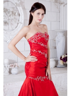 Red Long Taffeta Mermaid Prom Dress 2013 with Embroidery IMG_7656