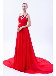 Red One Shoulder Open Back Celebrity Gown with Train IMG_9862