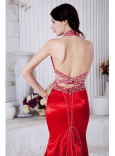 Red Open Back Sheath Halter Sexy Evening Gown for Summer IMG_7784