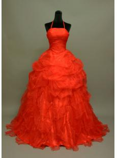 Red Organza Elegant Ball Gown Wedding Dress img_6960