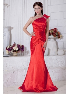 Red Sheath Pretty Prom Dress with One Shoulder IMG_6891