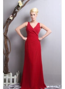 Red V-neckline Mother of the Bride Dress for Outdoor Wedding SOV111016