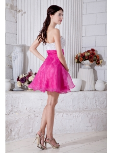 Romantic Hot Pink and White Sweetheart Cocktail Dress IMG_6966