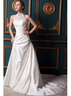 Romantic Modest Illusion High Collar Lace Wedding Dress IMG_1541