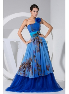 Royal One Shoulder Printed Long Cheap Mother of Bride Dress WD1-040
