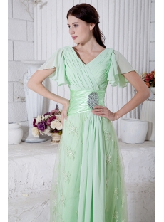 Sage Green Large Size Prom Dress with Short Sleeves IMG_7145