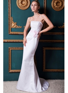 Sheath Strapless Simple Mature Bridal Gown with Sweep Train IMG_1610